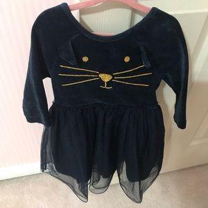 Mini Boden Girls Velour Cat Dress Navy 5-6Y